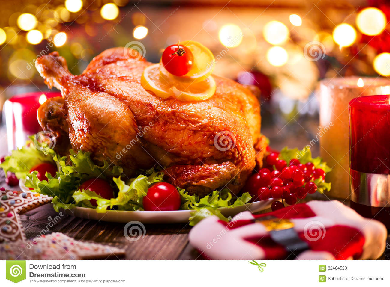 Christmas family dinner. Christmas holiday decorated table with turkey