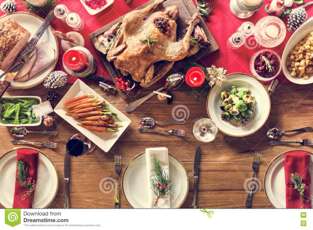Family dinner table with food - Christmas Family Dinner Table Concept Stock Photo