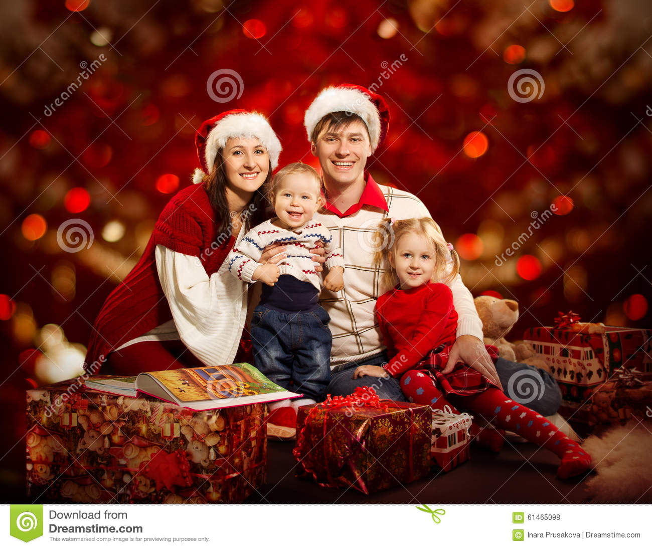 Christmas Family Photo Christmas Family Four Persons Mother Father Children Red Stock