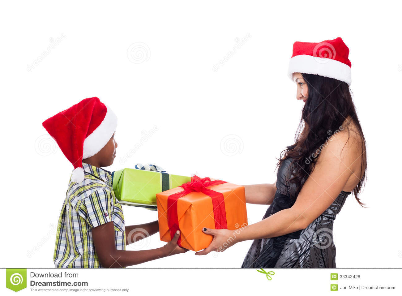 Christmas Family Giving Presents Stock Photo - Image: 33343428