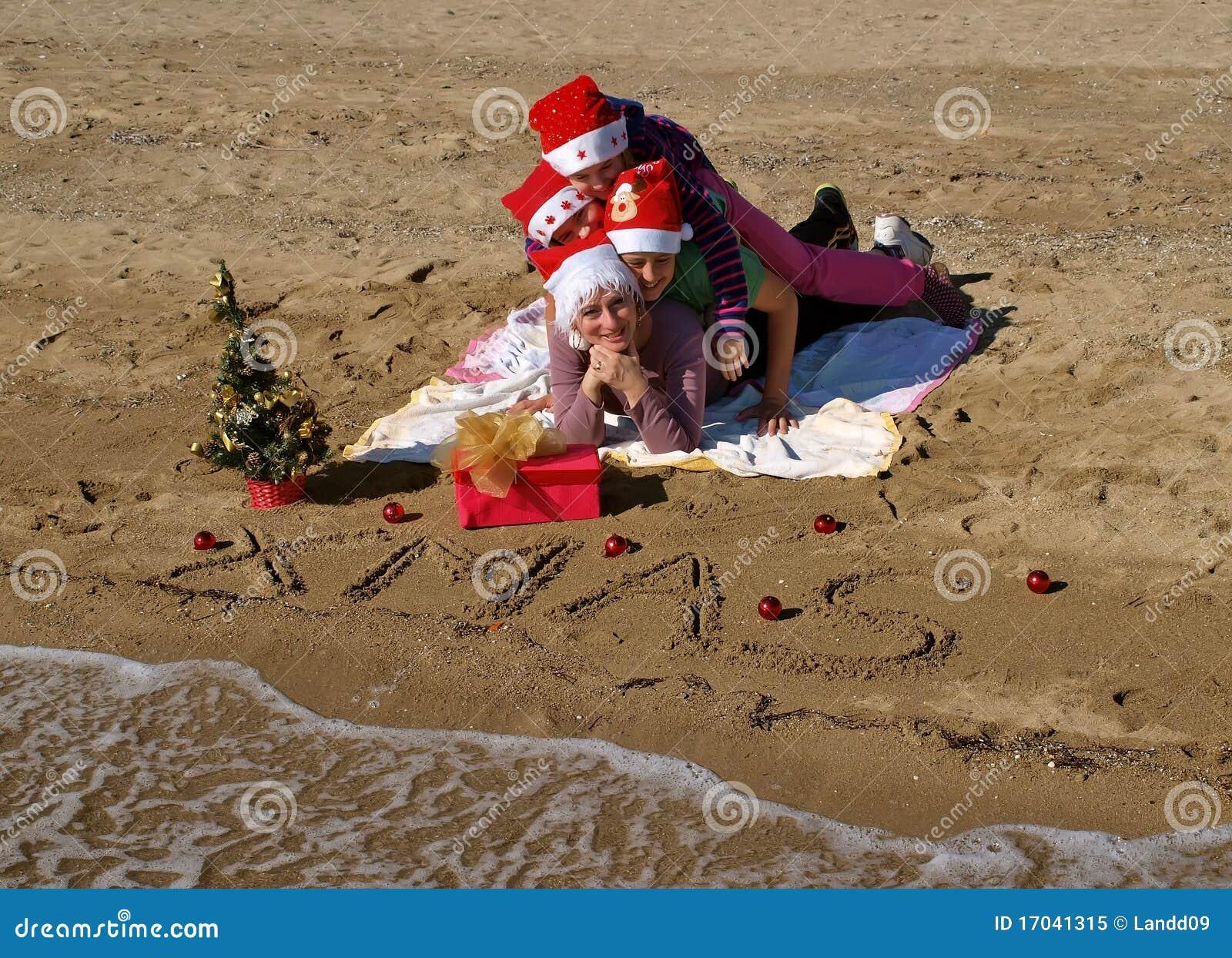 Christmas Family At Sand Beach Royalty Free Stock Photo Image 17041315