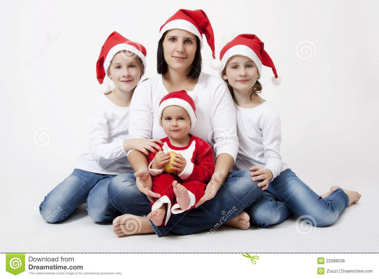 Christmas Family Portraits.Christmas Family Portrait Stock Photo Image Of Female