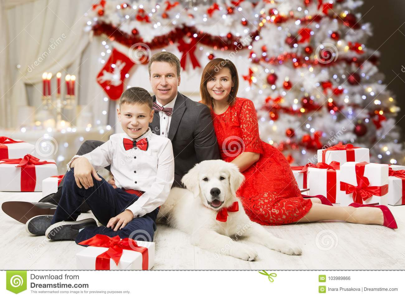 Christmas Family Portrait, Happy Father Mother Child Boy And