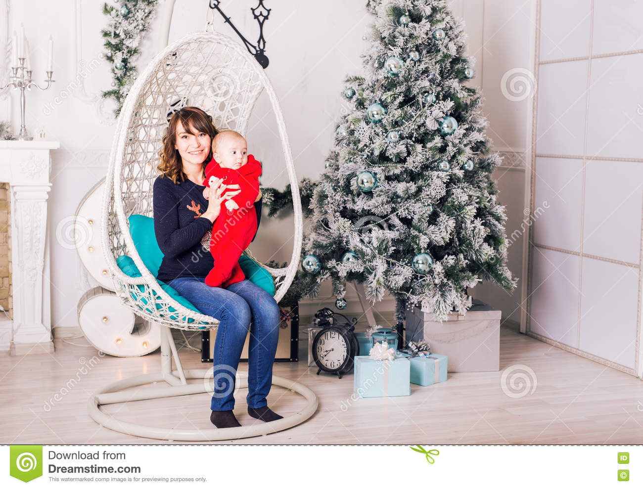 Christmas Family Portrait In Home Holiday Living Room Stock