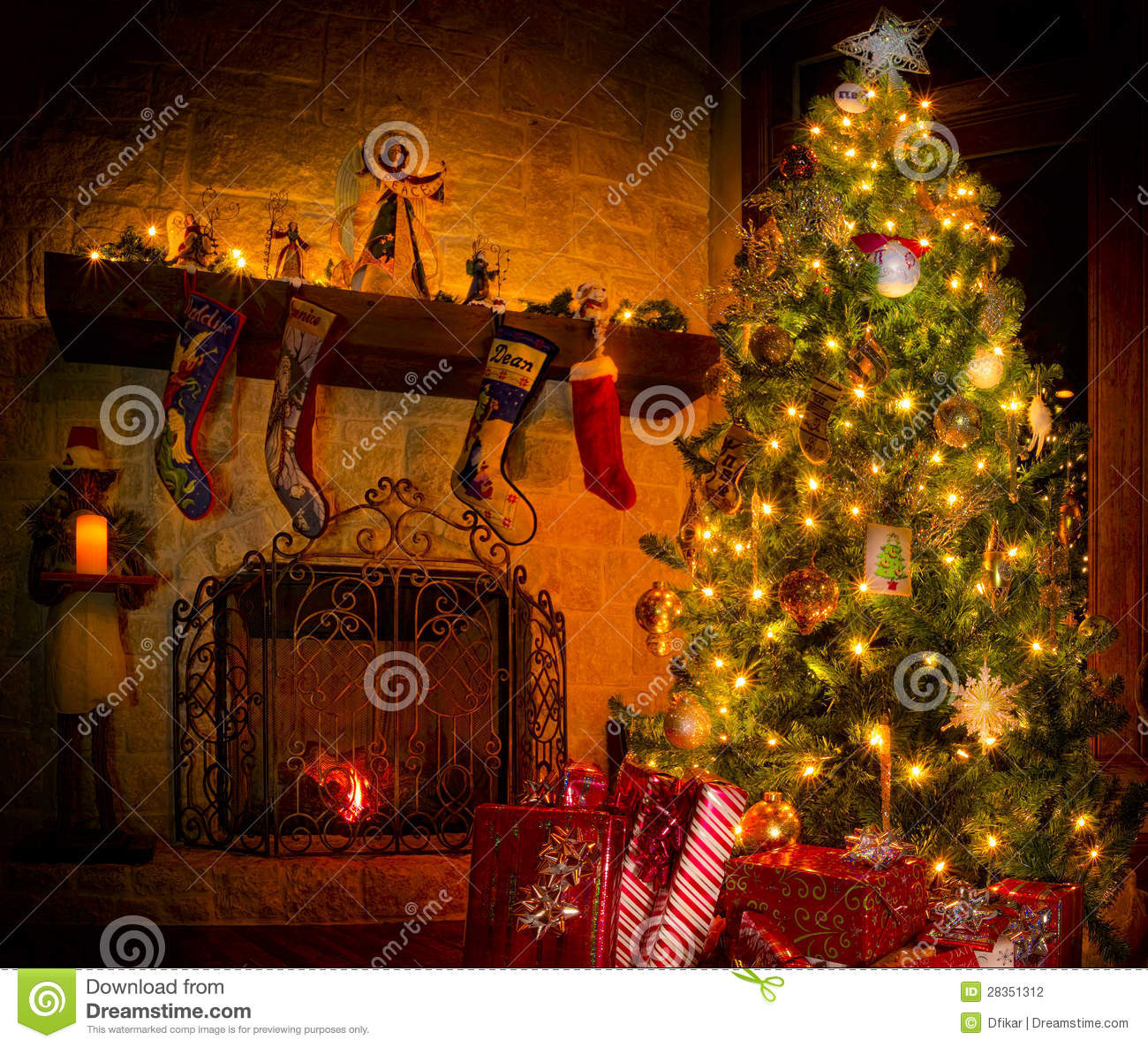 Christmas In The Family Room Stock Photo - Image of warmth, peace ...