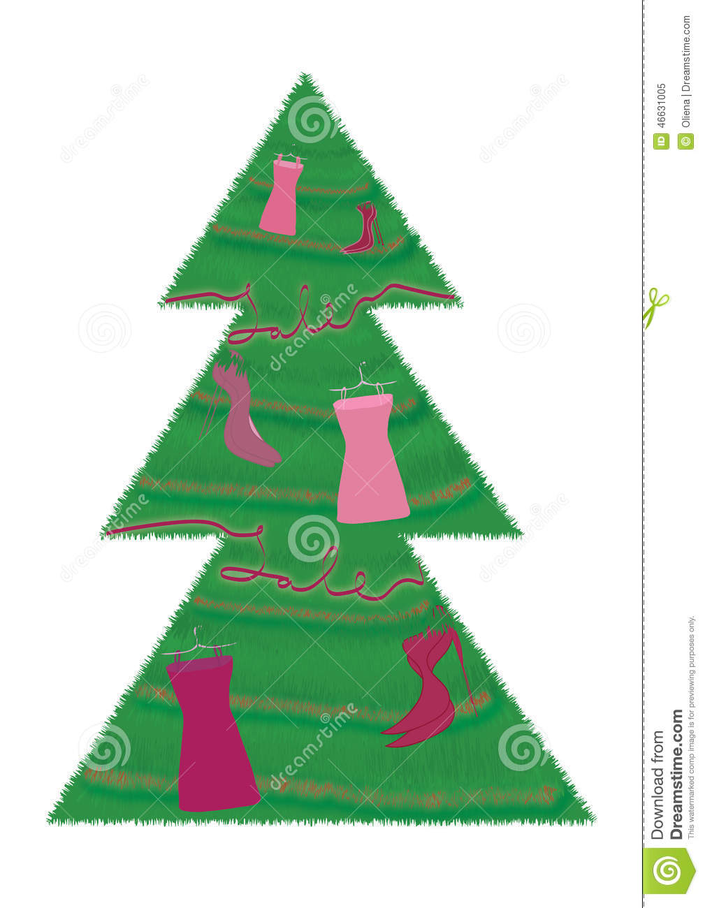 Christmas tree with sale fashion shoes and dress decorations