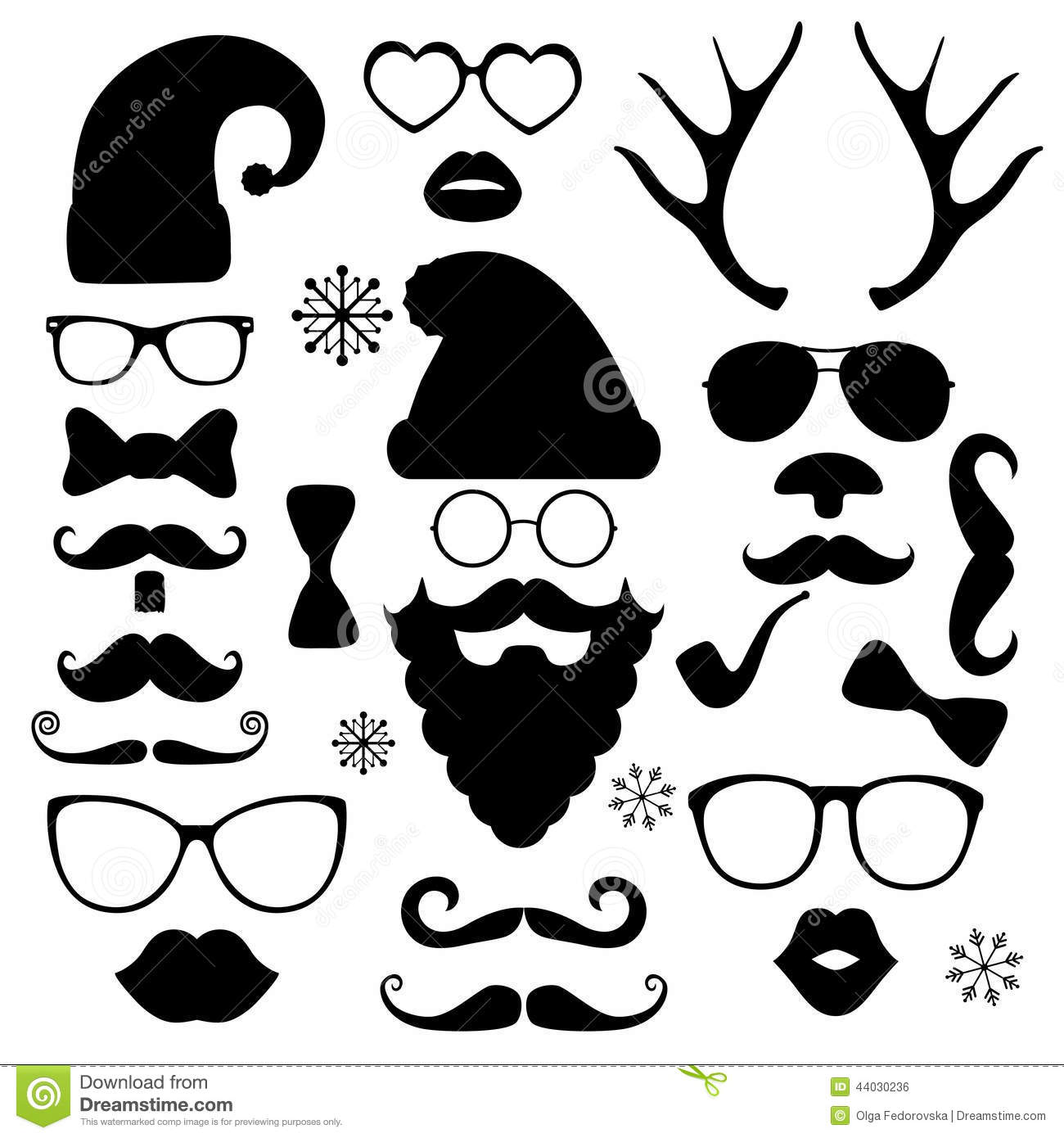 Christmas Fashion Silhouette Set Hipster Style Stock Vector Image 44030236