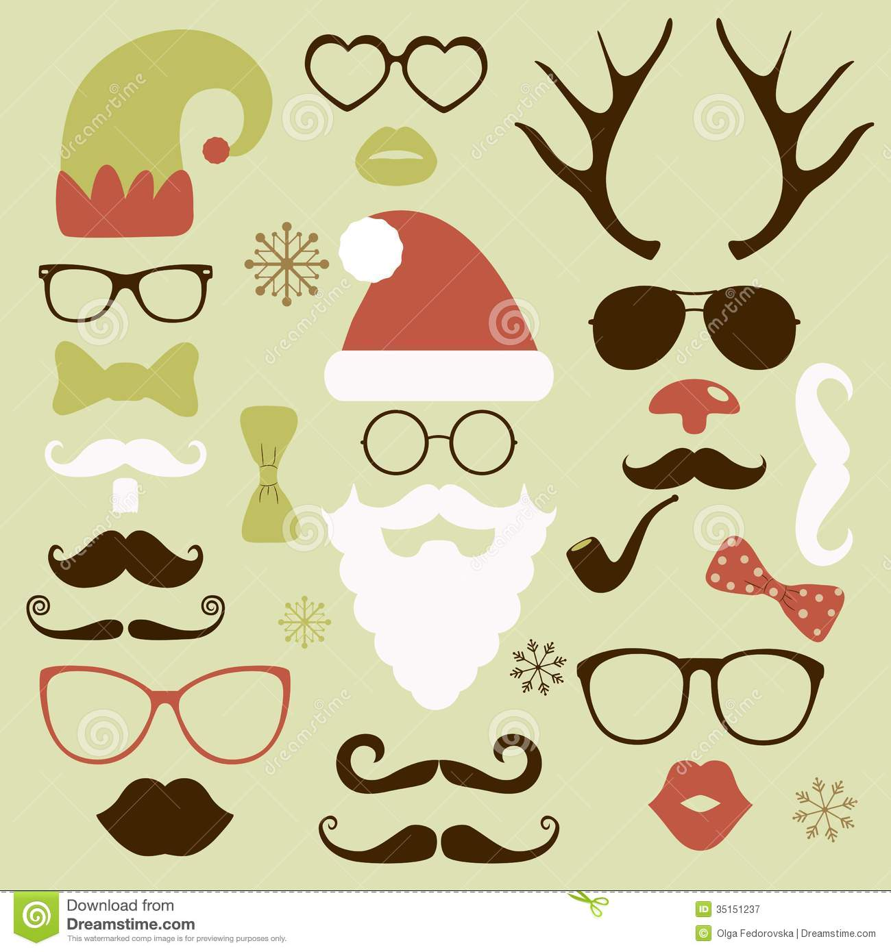 Christmas Fashion Silhouette Set Hipster Style Stock Vector Image 35151237