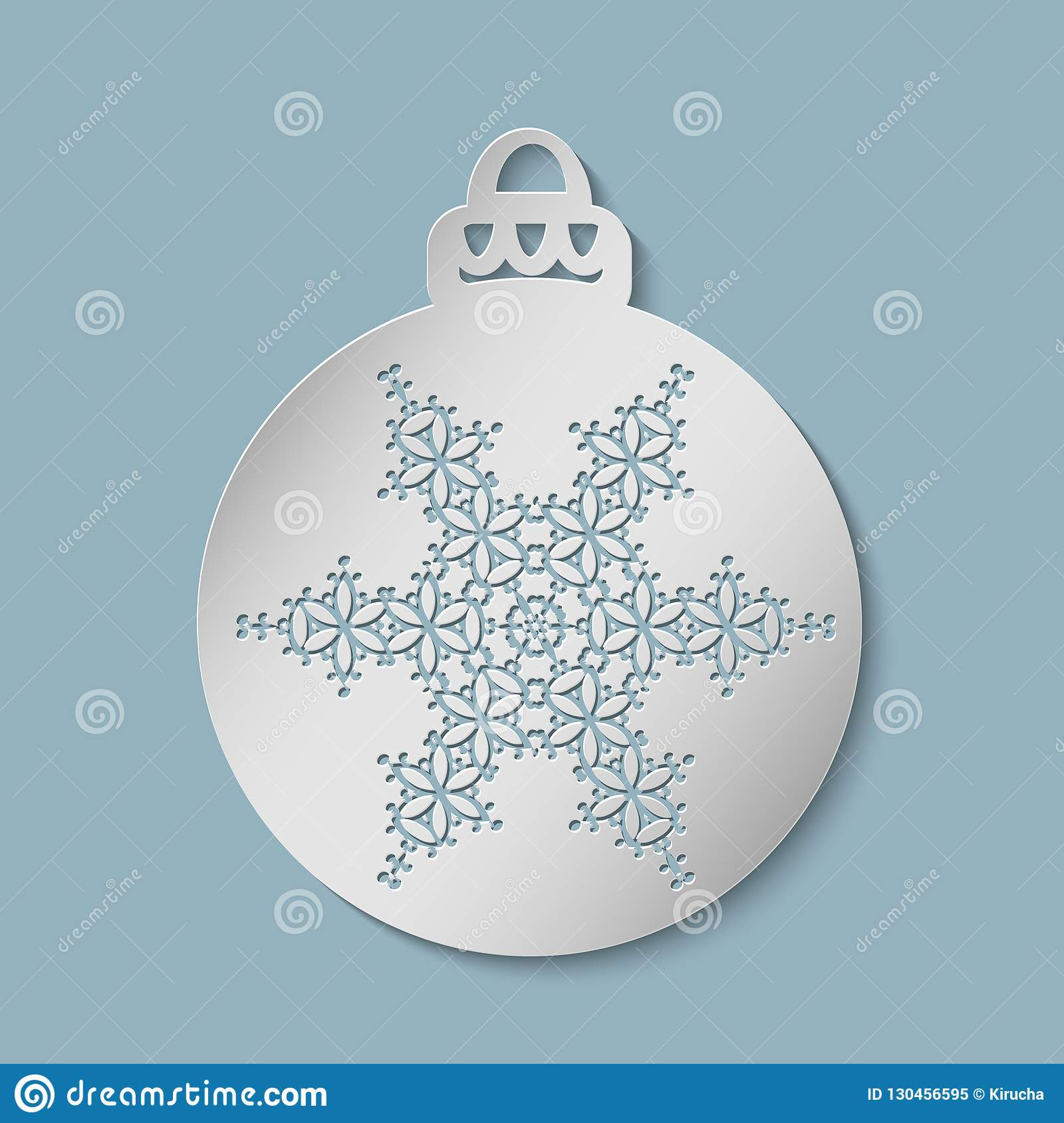 Christmas Festive Ball Cut Out Of Paper Stock Illustration