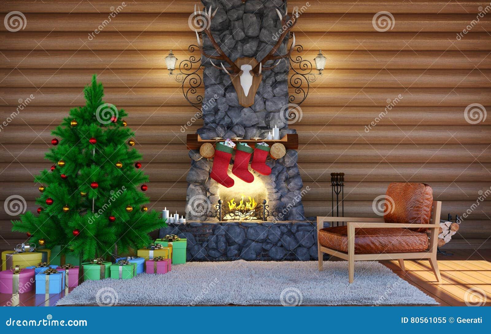 Log Cabin Christmas.Christmas Festive Decorations Room Interior In Log Cabin