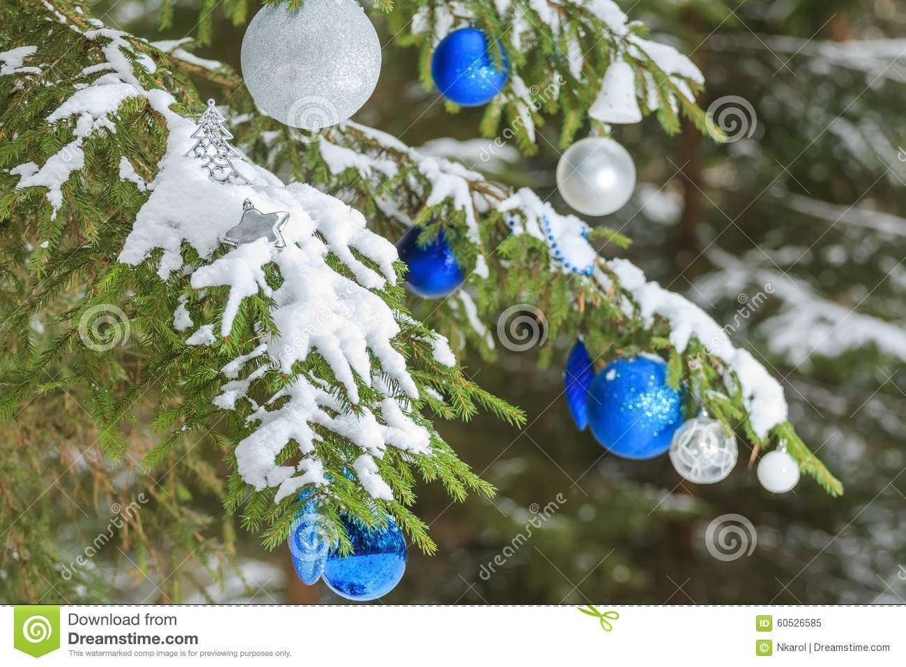 Outside ornaments - Christmas Festive Glitter Baubles Silver And Blue Ornaments Outside On Snowy Spruce Branches