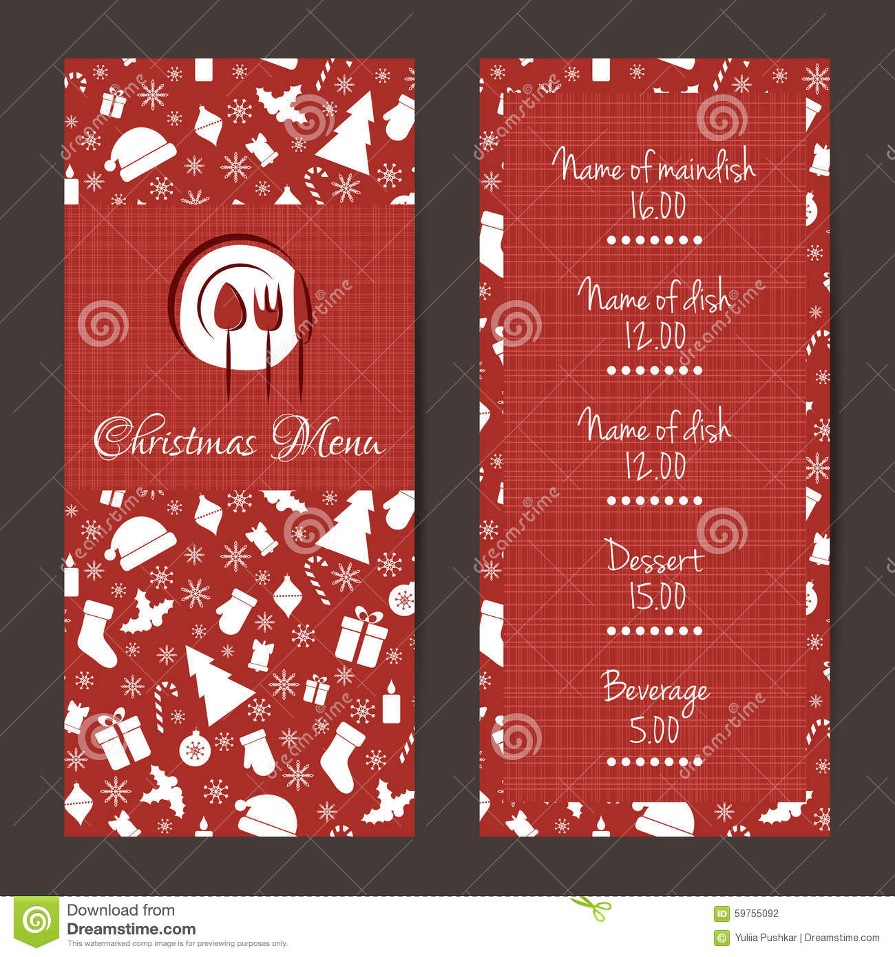 christmas festive menu design stock vector