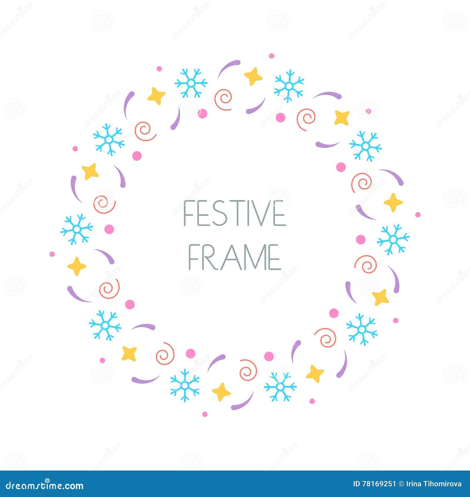 Christmas Festive Round Frame For Christmas Cards, Invitations ...