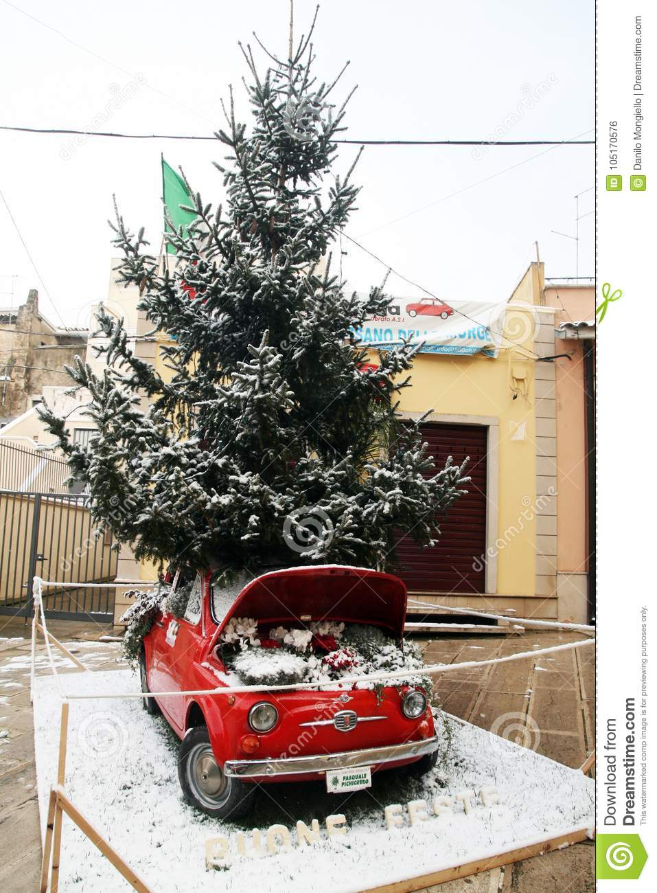 A Fiat 500 Car Used Like Christmas Tree At Cassano Delle Murge In Italy