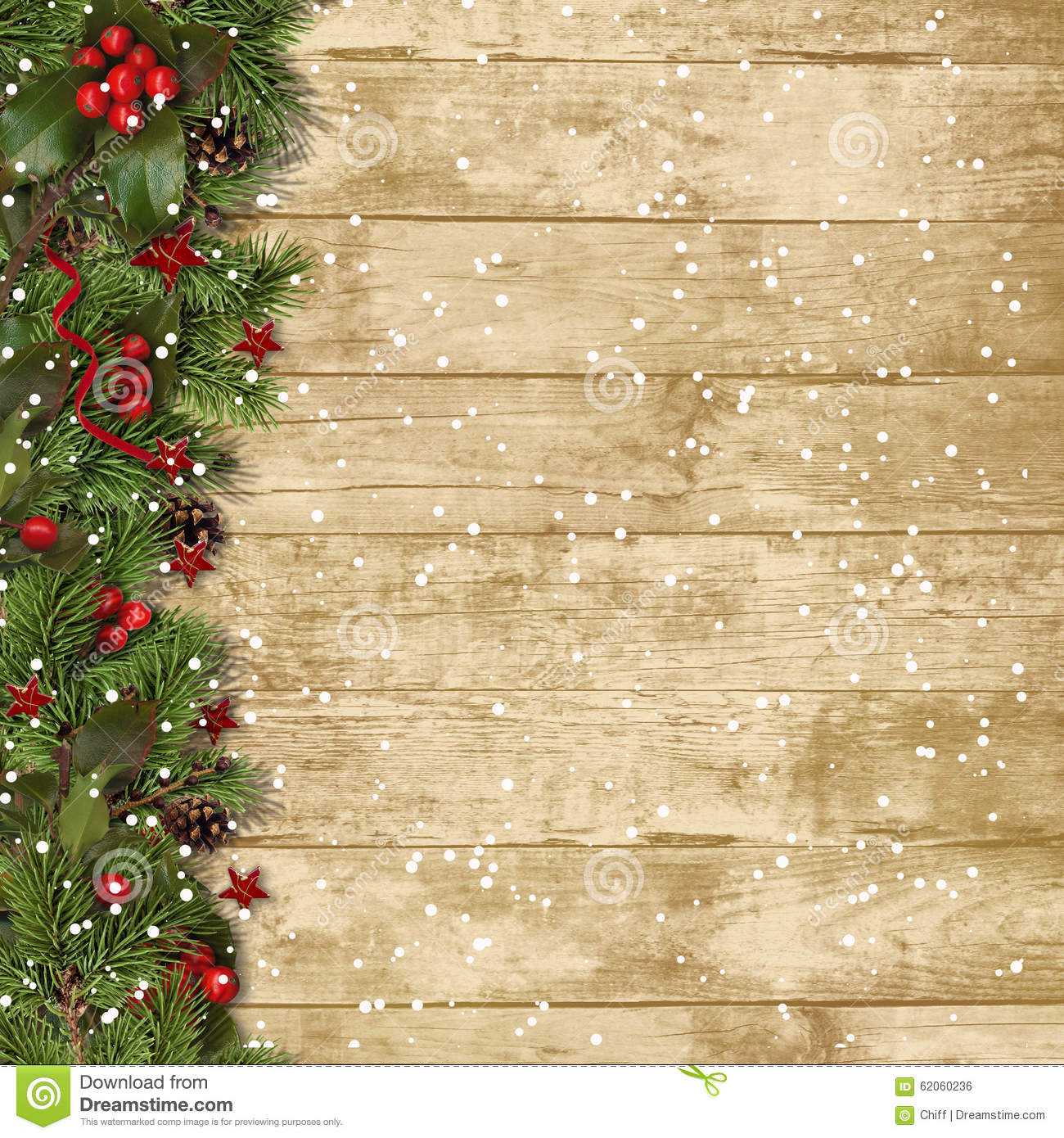 Christmas fir branches and holly on wood background stock for Background decoration images