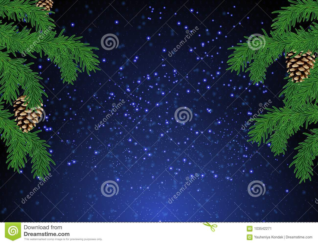 Christmas fir tree background over magic blue sky with stars.