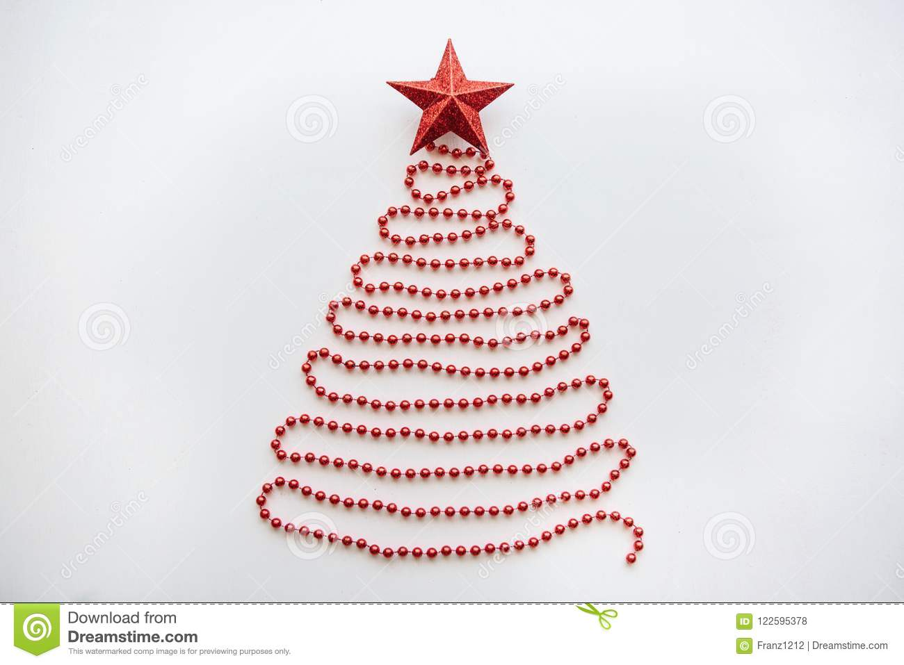 Christmas Fir-tree From Beads And A Star On Top. Stock Photo - Image ...