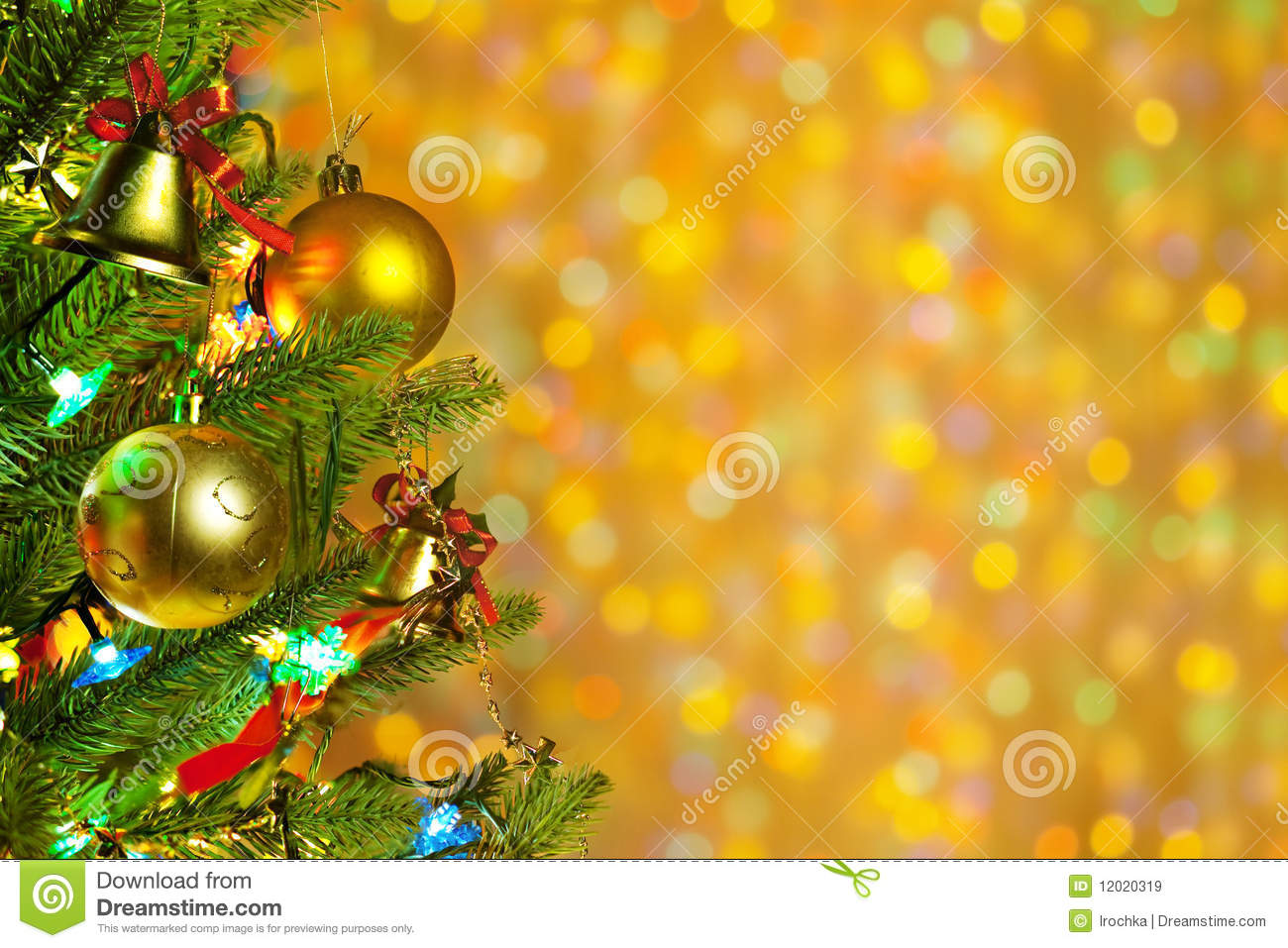 Christmas fir tree with colorful lights close up