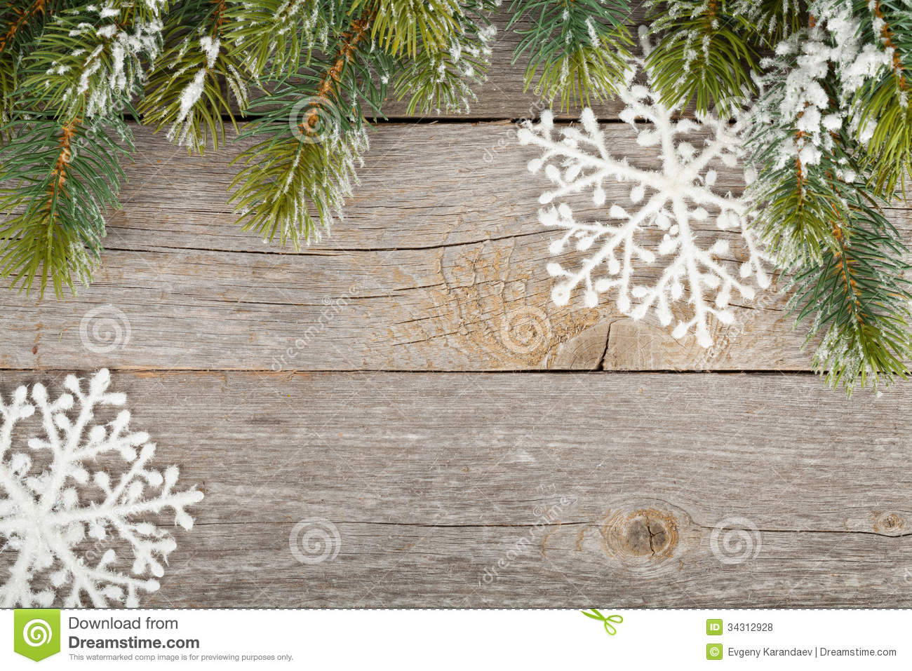 christmas fir tree and decor on wooden board background stock photo image 34312928. Black Bedroom Furniture Sets. Home Design Ideas