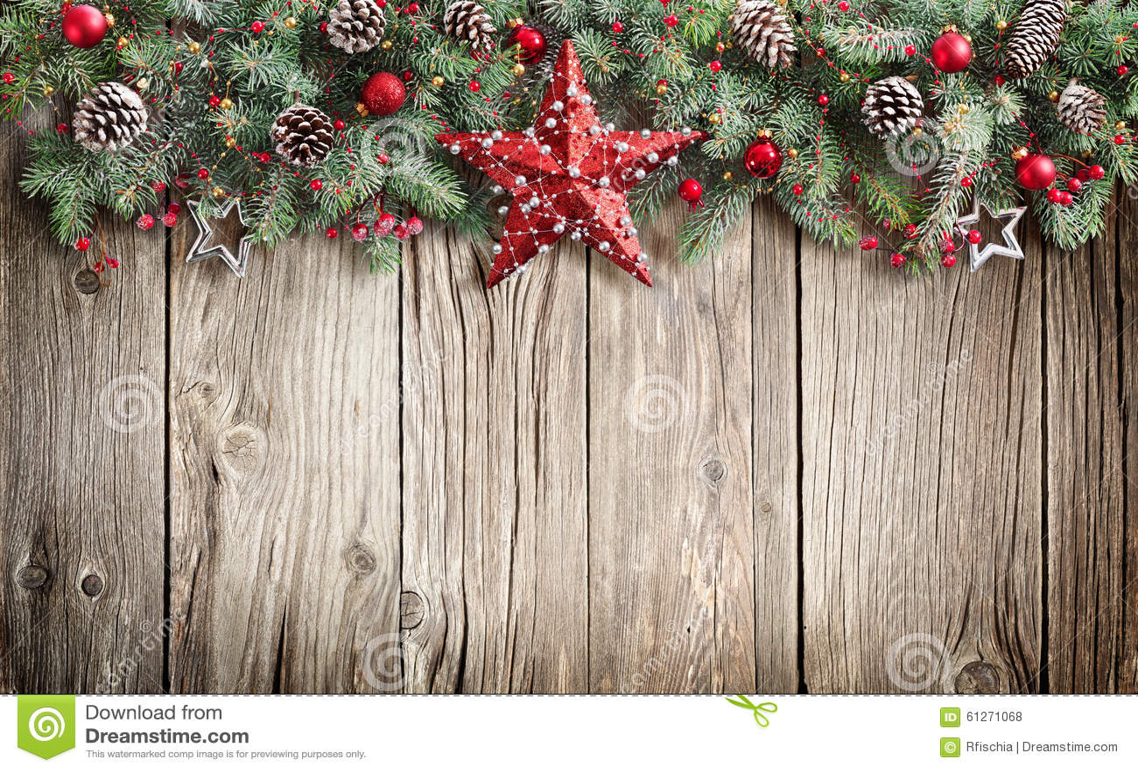 Christmas fir tree decorated on wooden stock photo image - Sapin de noel deja decore ...