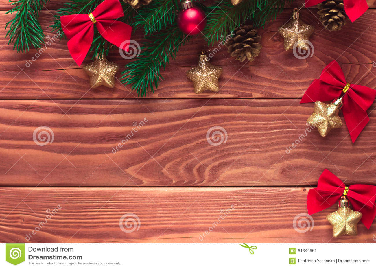 Christmas Fir Tree With Decoration On Dark Wooden Board ...