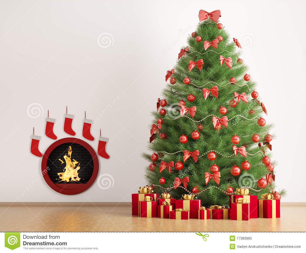 Christmas Fir Tree And Fireplace 3d Render Royalty Free ...