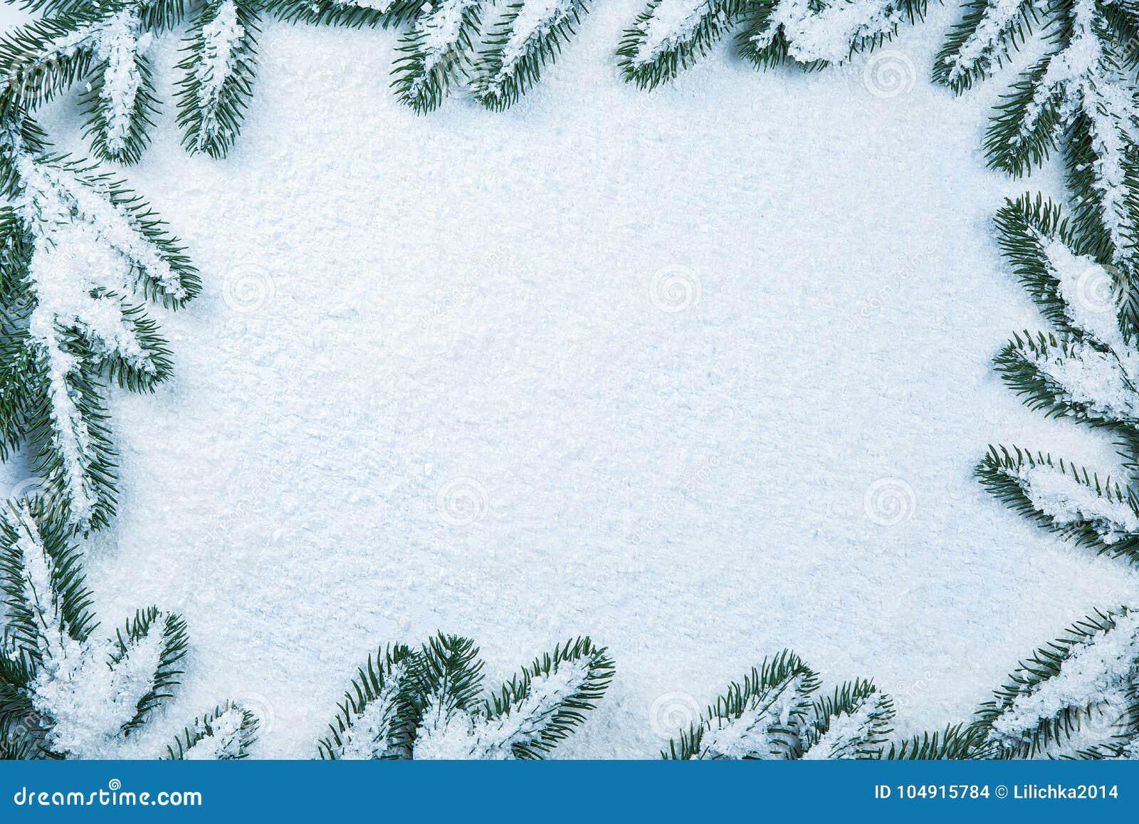 Christmas Fir Tree Frame On White Snow Stock Photo Image Of Empty