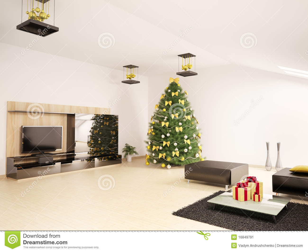 Christmas fir tree in living room interior 3d stock image image 16849791 for Christmas tree in living room photos