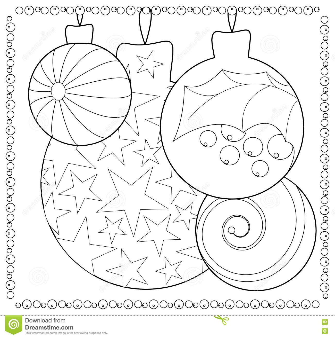 Christmas Fir Tree Ornament Coloring Page Stock Illustration