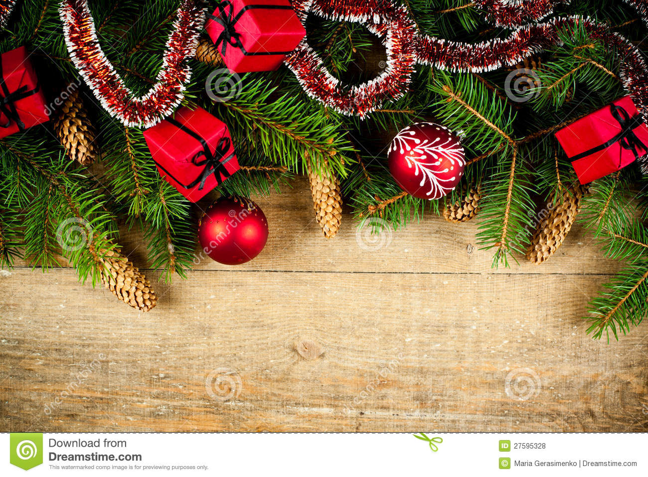 Christmas fir tree with pinecones and decorations stock for Fir cone christmas tree decorations