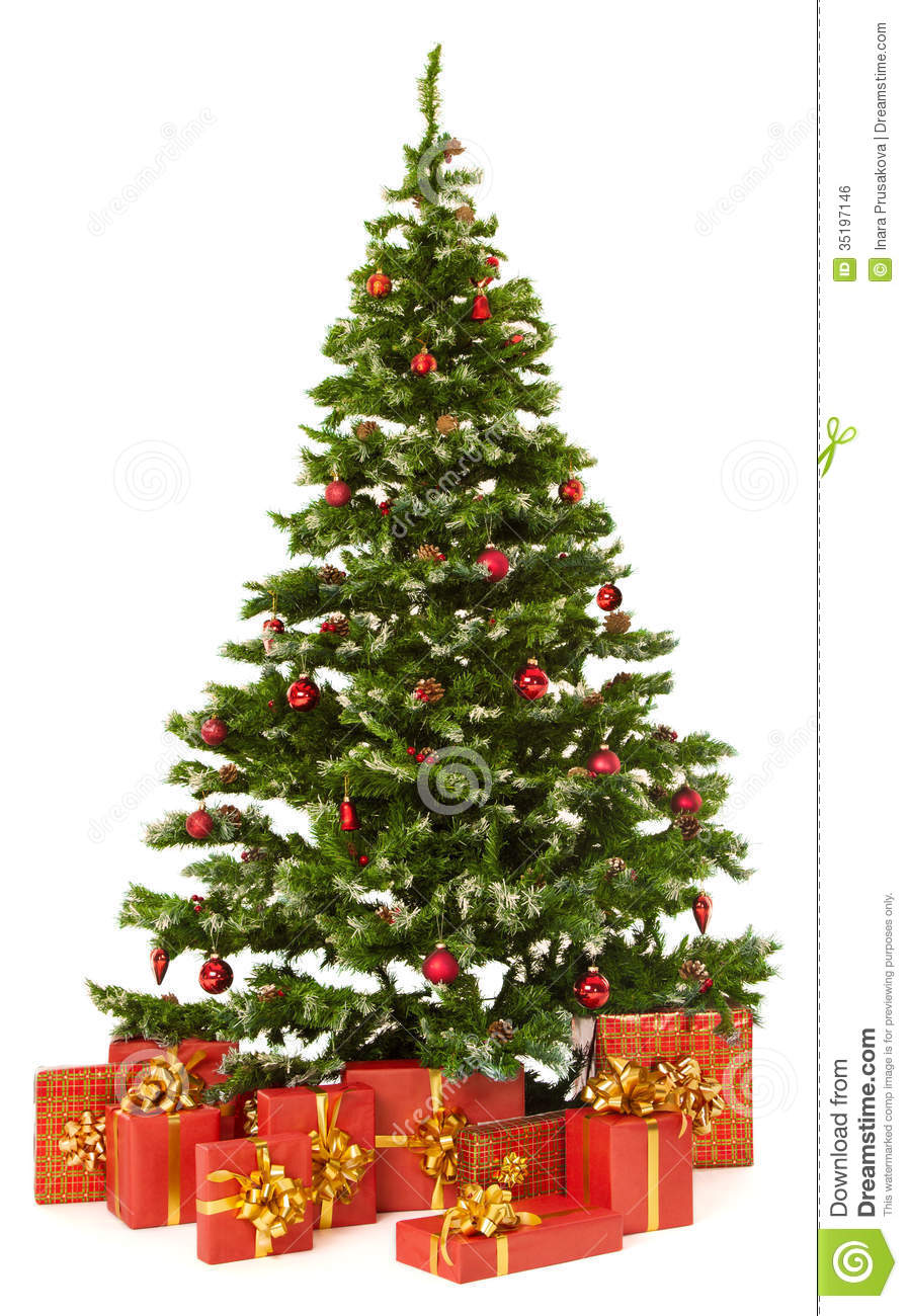 Christmas Fir Tree And Presents Gifts Box Over White ...