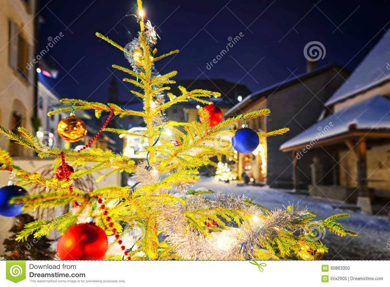 Christmas Fir Tree In The Street Of The Medieval Town Of