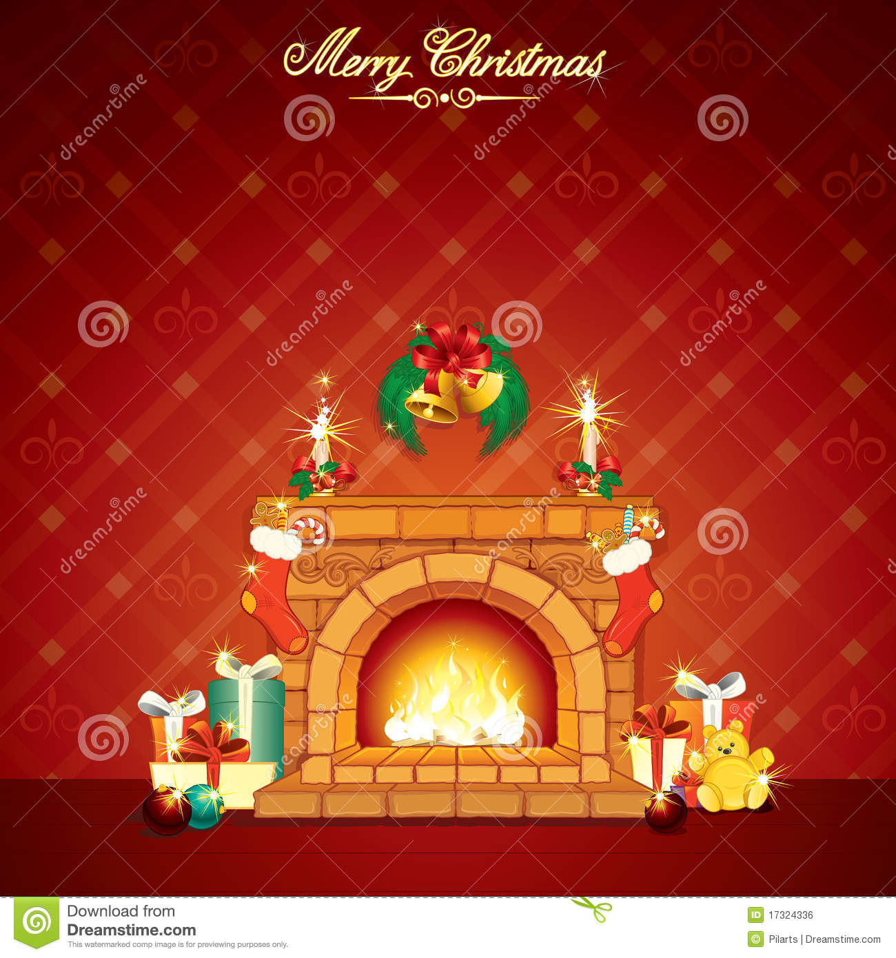 Christmas Fireplace Stock Vector Illustration Of
