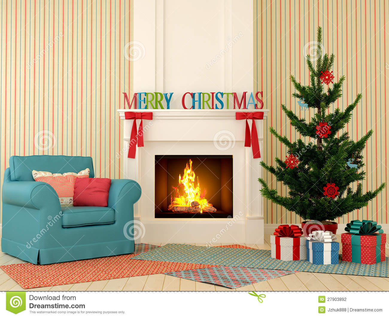 Christmas Fireplace With Blue Chair And Tree Stock