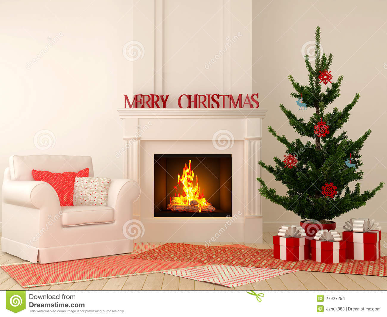 Christmas Fireplace With Chair And Tree Stock Images Image 27927254