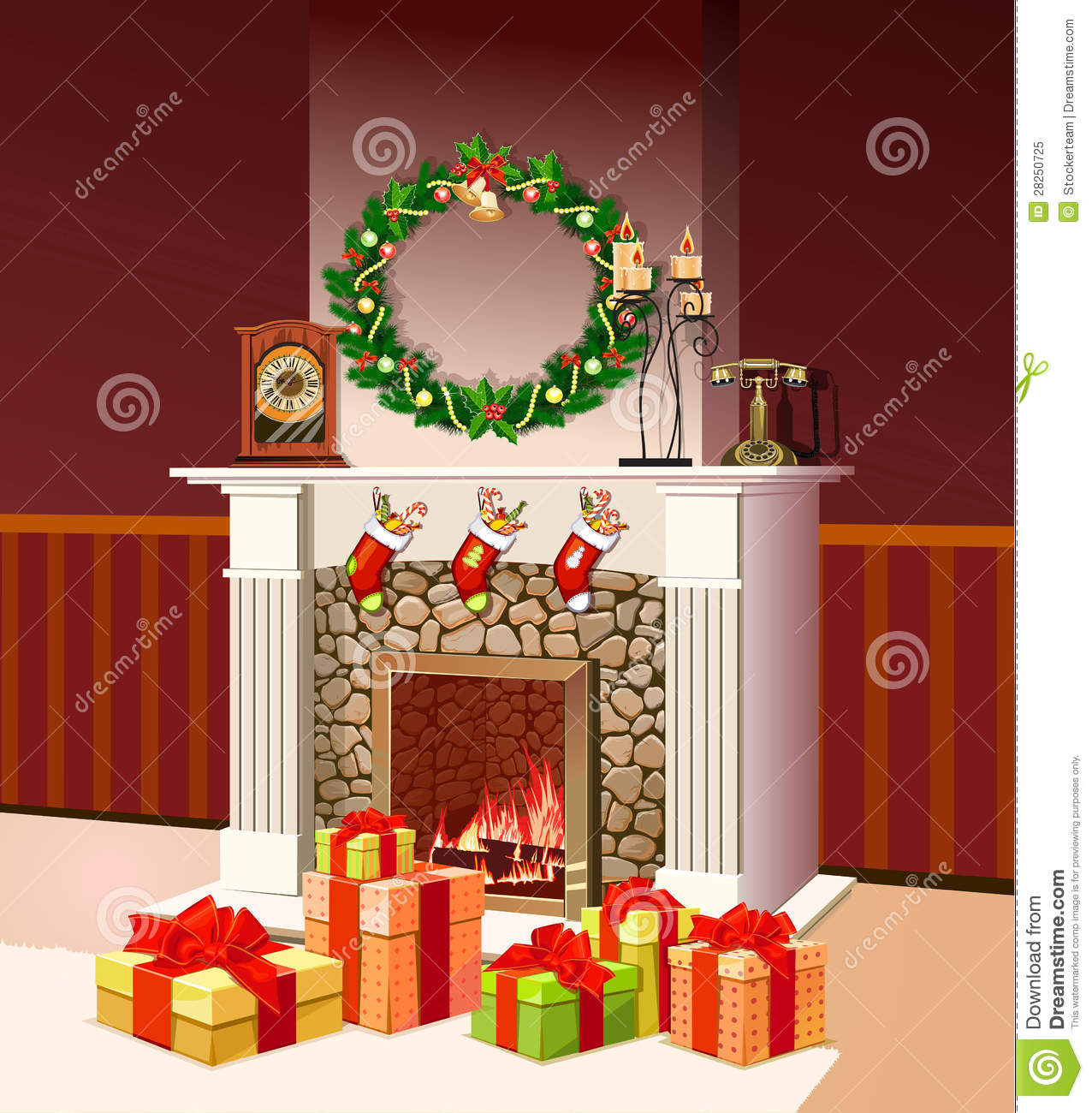 christmas fireplace with christmas gift boxes stock illustration