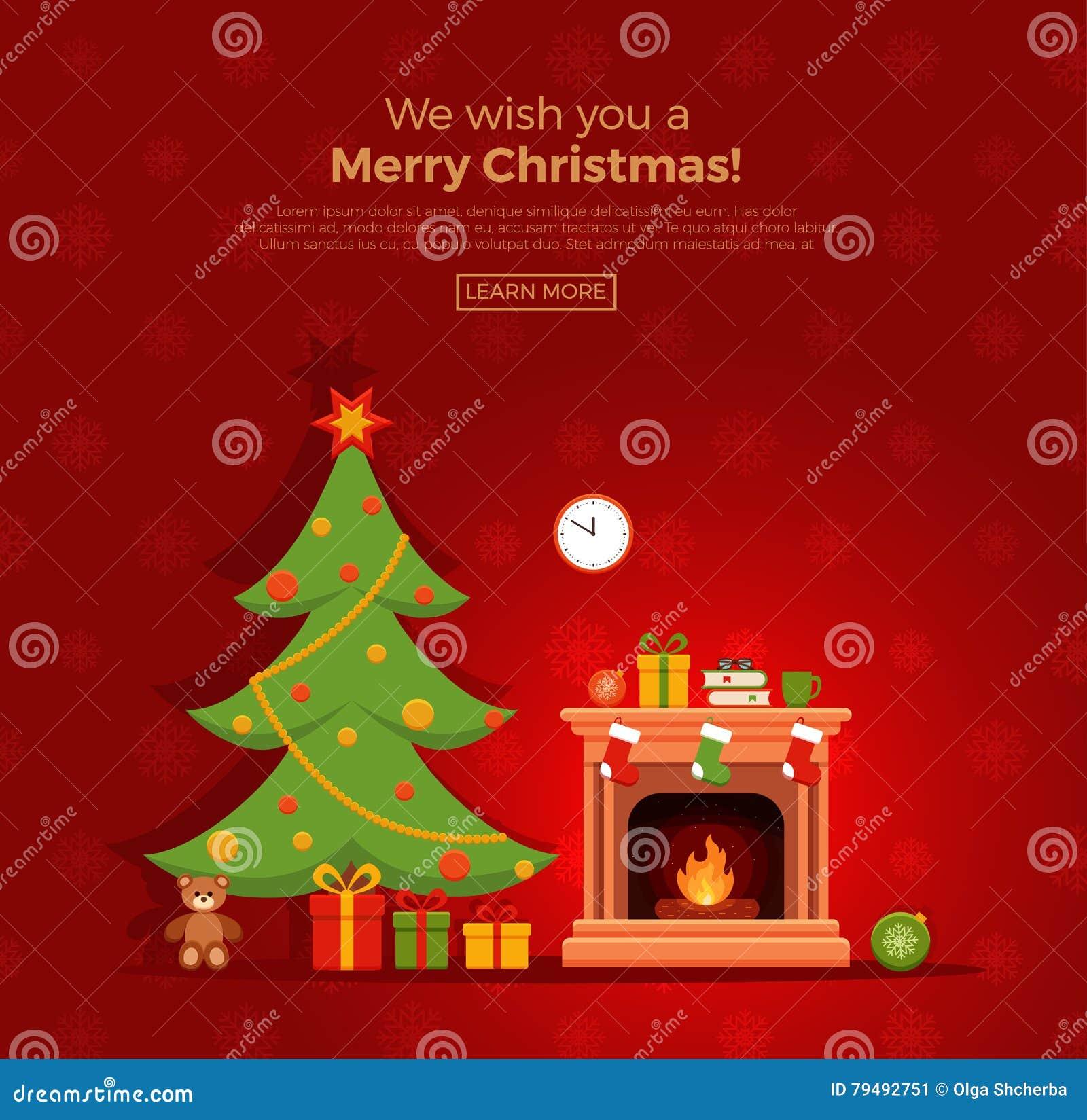 Christmas Fireplace Room Interior Stock Vector