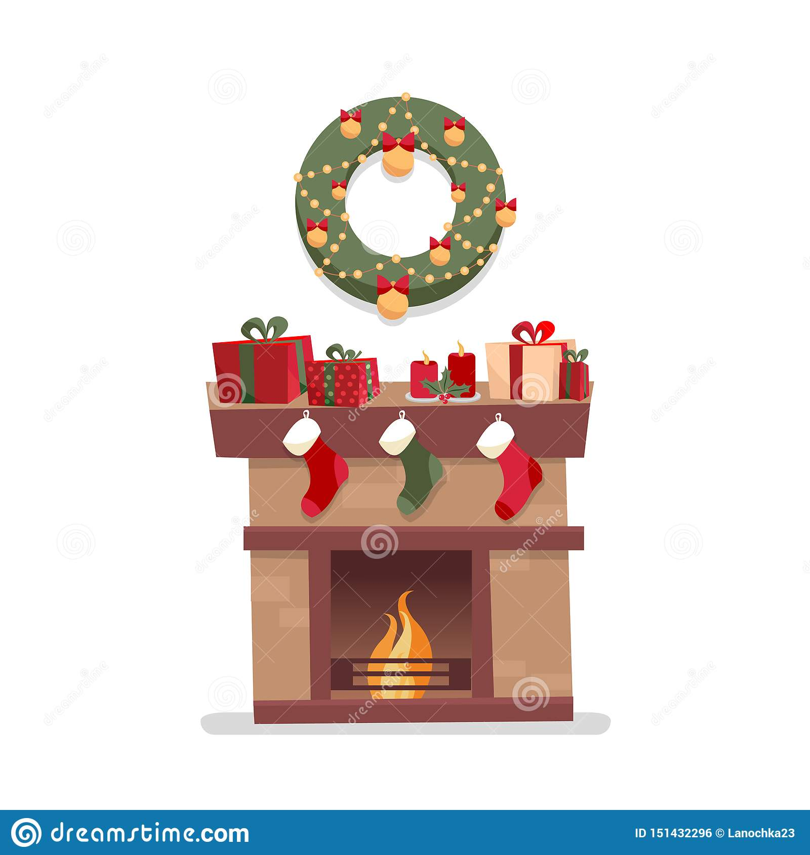 Christmas fireplace with socks, decorations, gift boxes, candeles, socks and wreath on a white background. Cozy flat cartoon style