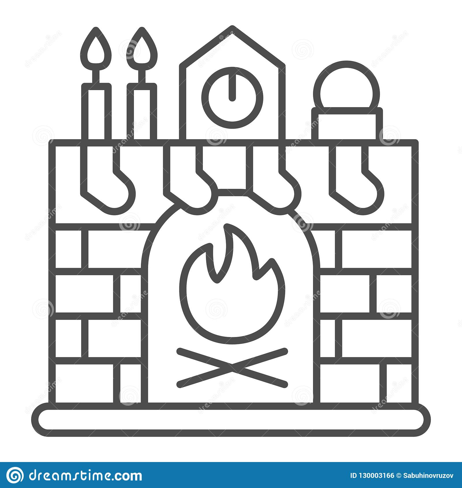 Super Christmas Fireplace Thin Line Icon Xmas Interior Vector Download Free Architecture Designs Rallybritishbridgeorg