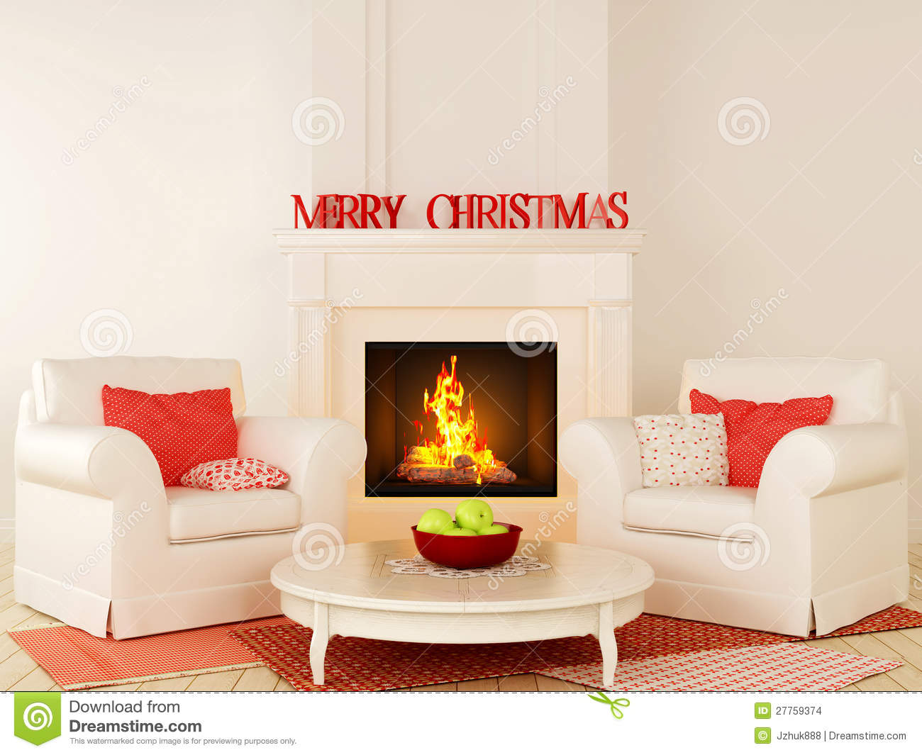 christmas fireplace and a white chair stock images image 27759374