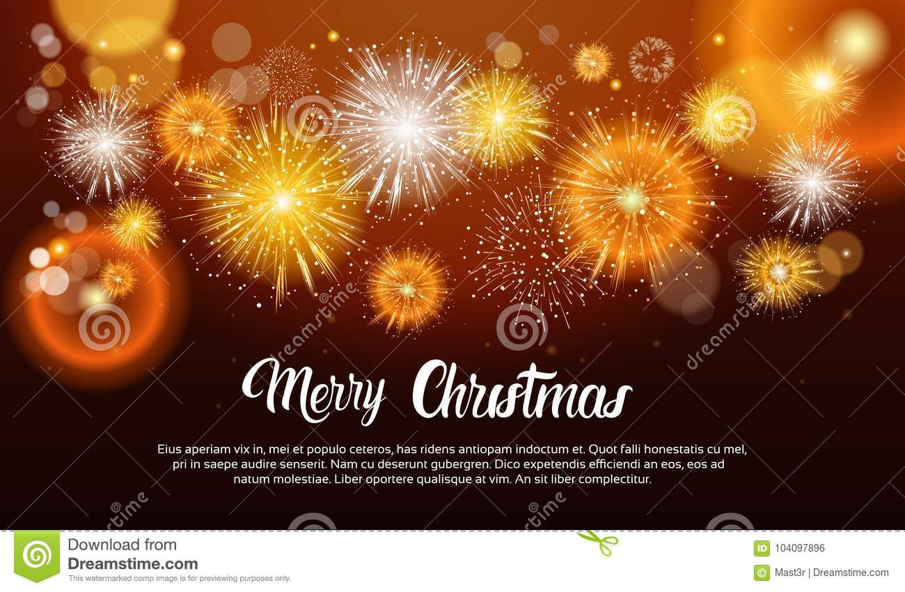 christmas fireworks bursting and sparkling against night background happy new year banner