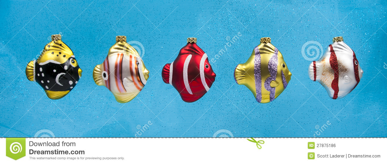 Christmas Fish Ornaments On Blue Background Royalty Free ...