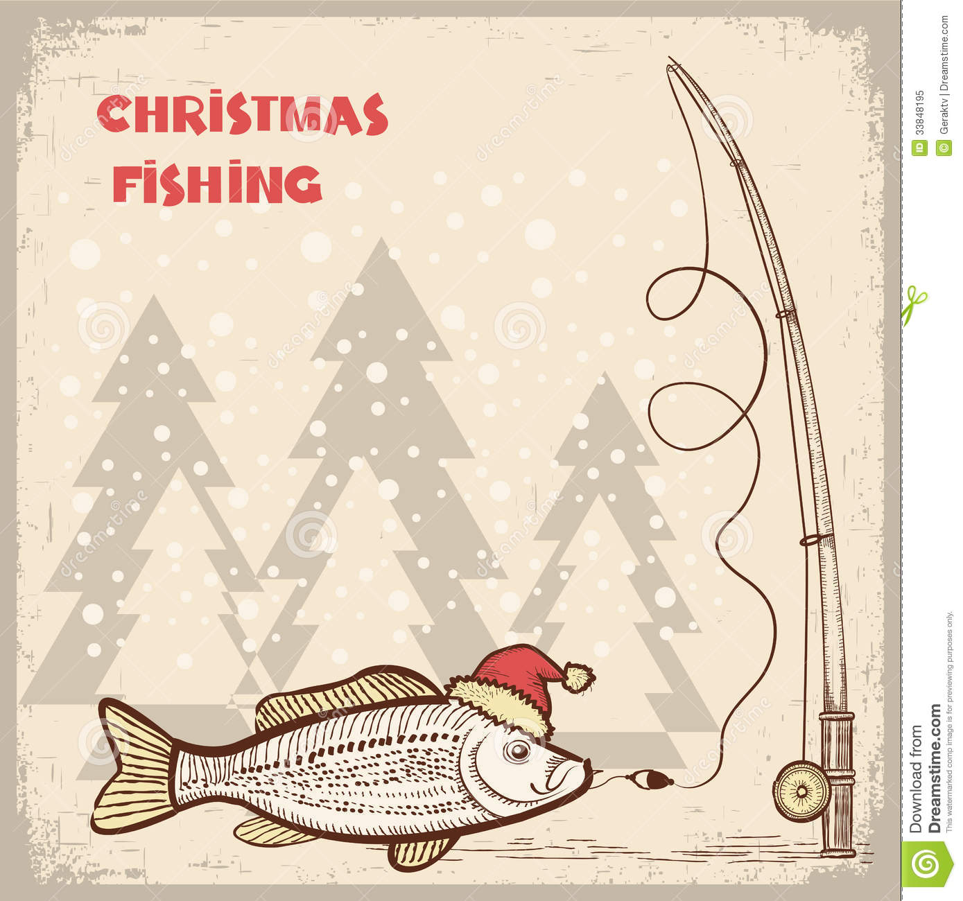 Christmas Fishing Card With Fish In Red Santa Hat. Stock ...