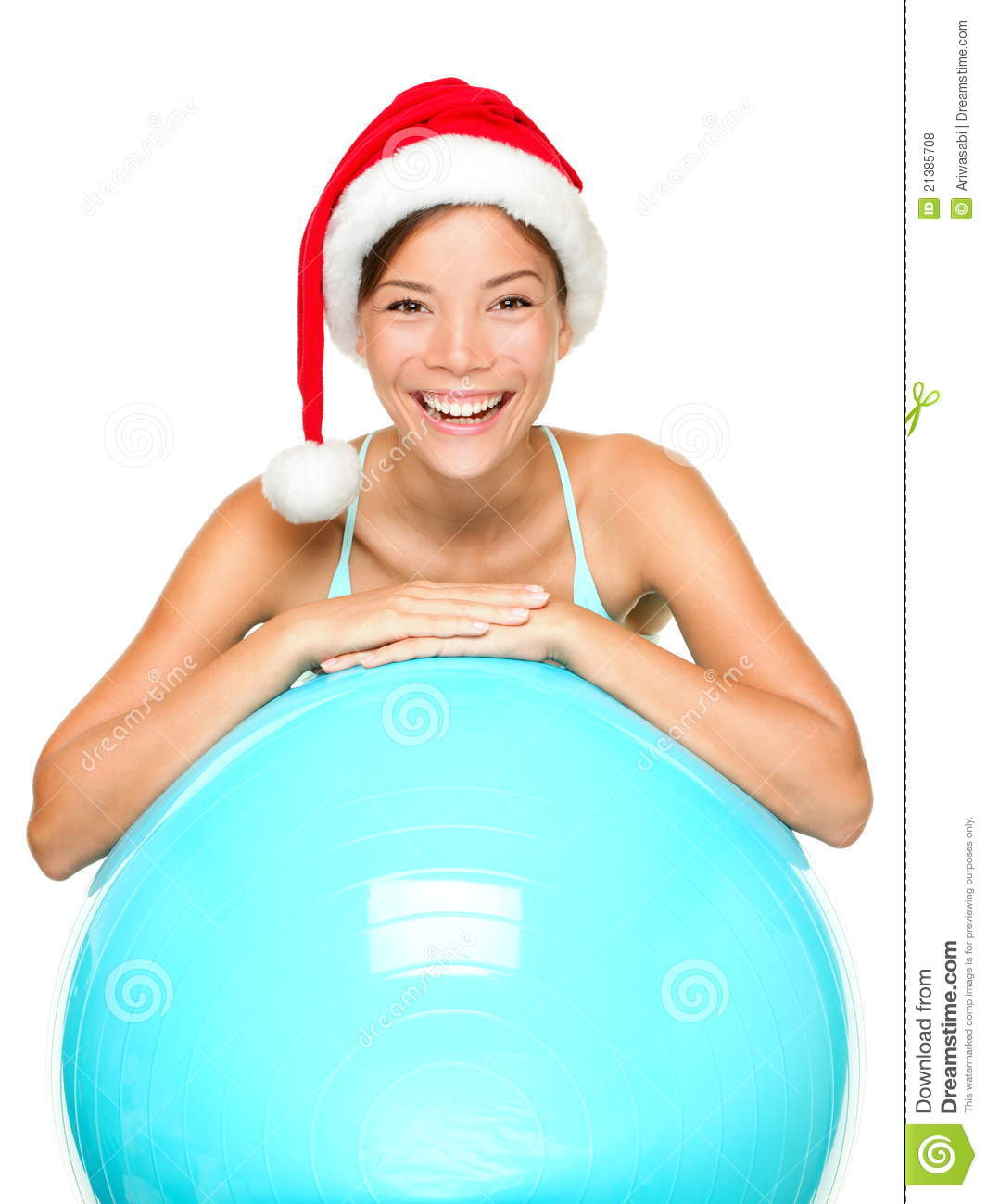 Christmas Fitness Woman In Santa Hat Royalty Free Stock ...
