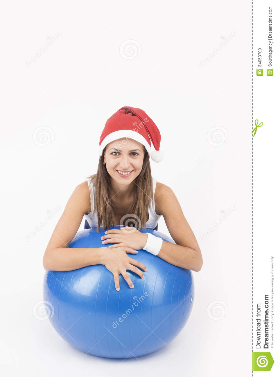Christmas fitness woman in santa hat royalty free stock images image