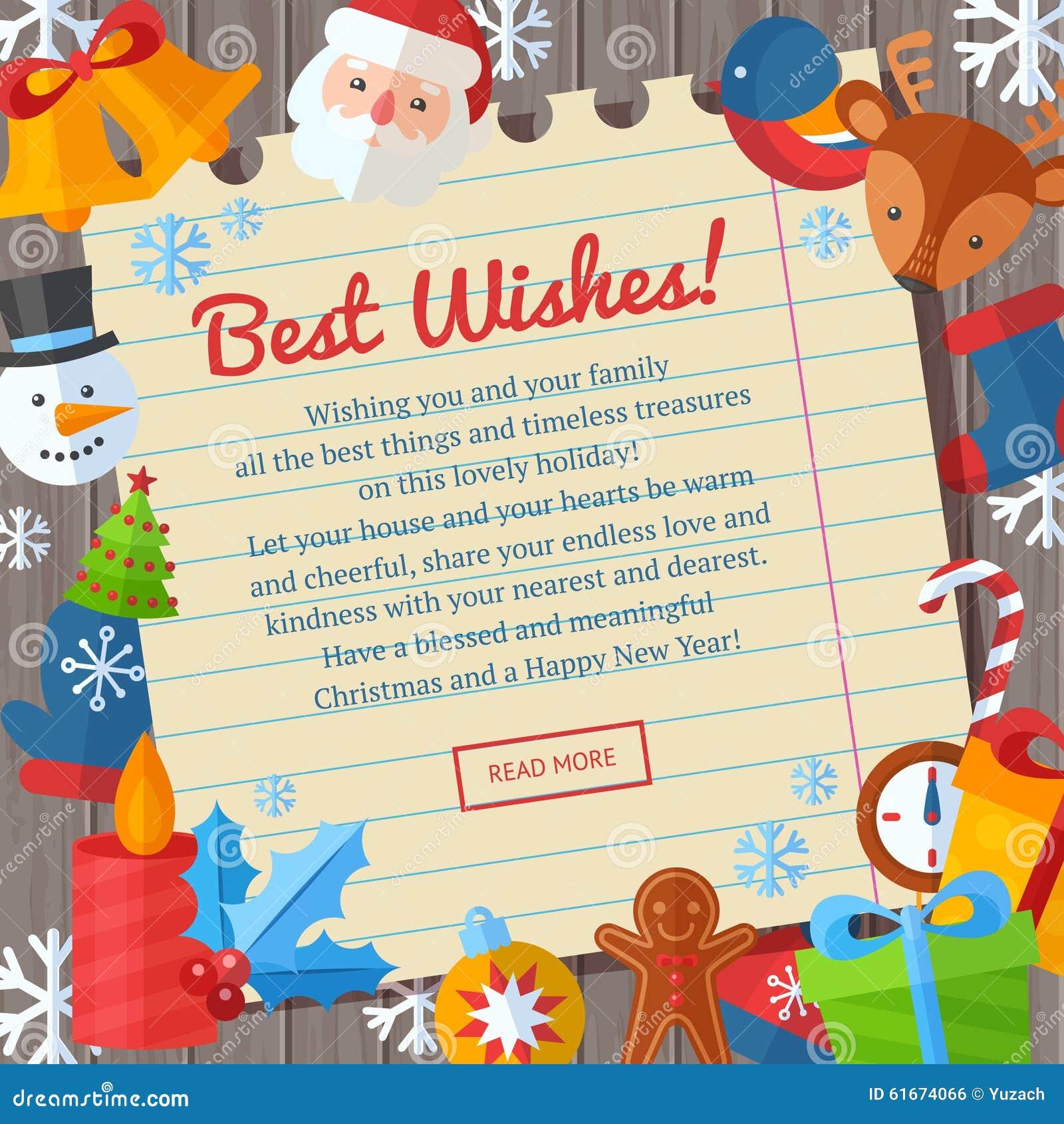 Christmas Flat Greeting Cards And Banners Santa Deer Xmas Tree