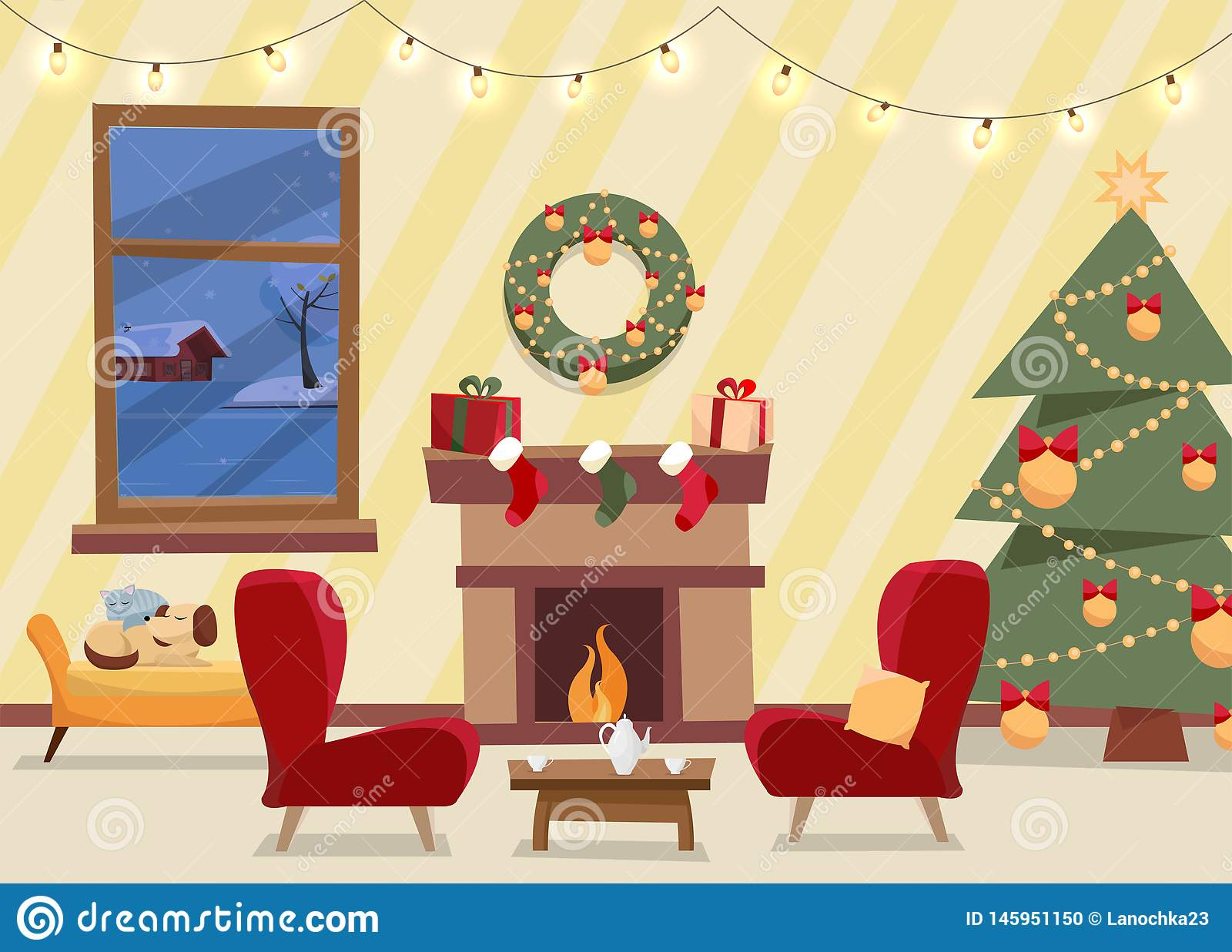 Christmas flat vector of decorated living room. Cozy home interior with furniture, armchairs, window to winter evening