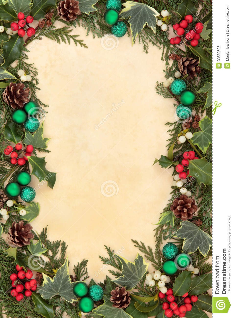 Christmas Flora And Baubles Stock Photo - Image of nature, floral ...