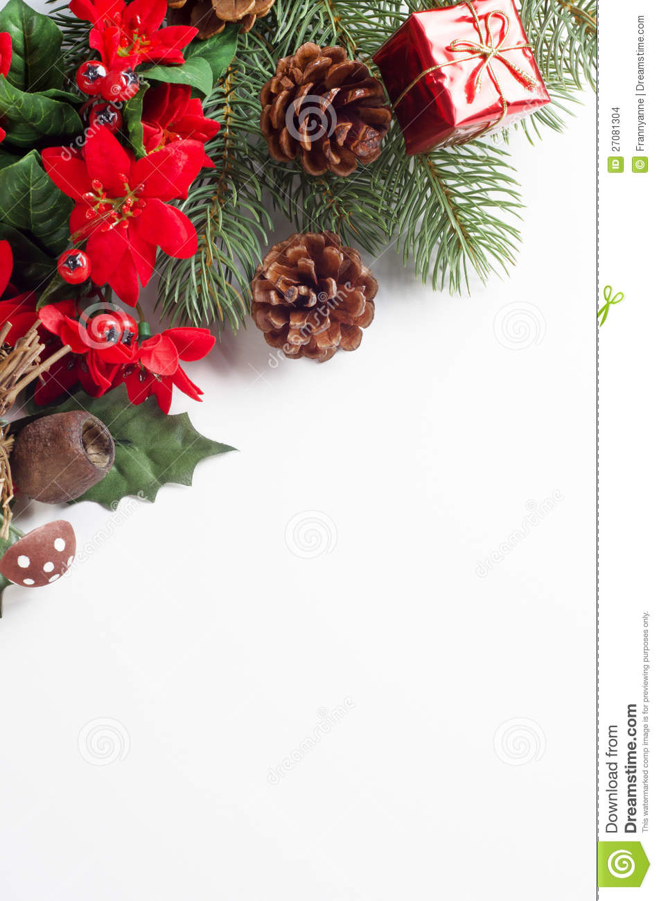 Christmas Flora Corner Border Stock Photo - Image of themed, berries ...