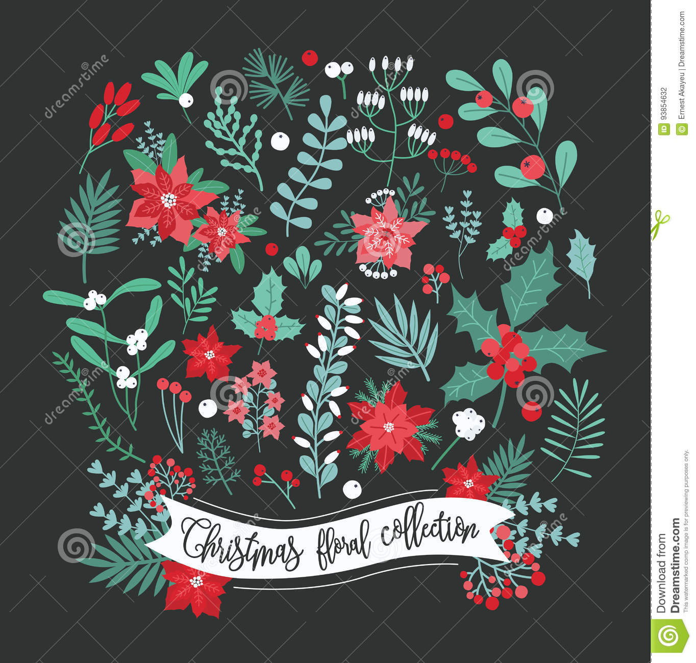 Christmas floral decoration collection. Set of different flowers, leaves and berry. Colorful vector design elements